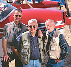 From left, pilots Jerry Wiley, Alex Fedorenko, Jerry Wiley.