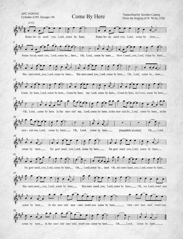 Come By Here (Kum Ba Ya) transcribed by the United States Library of Congress from a 1926 recording.